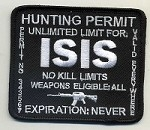 ISIS Hunting Permit Patch  Black background, white lettering