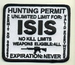 ISIS Hunting Permit Patch White background, Black lettering