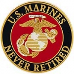 "USMC LOGO,NEVER RETIRED. (1"") PIN"