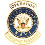 "ENDURING FREEDOM,USN LOGO (1-1/16"") PIN"