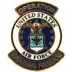 "ENDURING .FREEDOM ,USAF LOGO (1-1/16"") PIN"