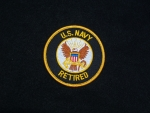 US Navy Retired 3 inch Patch Black and Gold