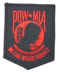 POW/MIA WE CAN NEVER FORGET BLACK/RED PATCH