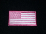 PINK AND WHITE AMERICAN FLAG PATCH